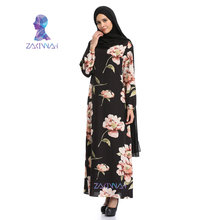 new design high quality Women Abaya Ethnic Flowers Chiffon Islamic Dress turkish traditional dress for women
