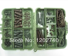 Carp Tackle Box with 152 pcs Teflon Carp Hooks, Safety Sleeves, Run Rings, Rig Tube, Beads, Anti Tangle Sleeves, Swivels-TB2