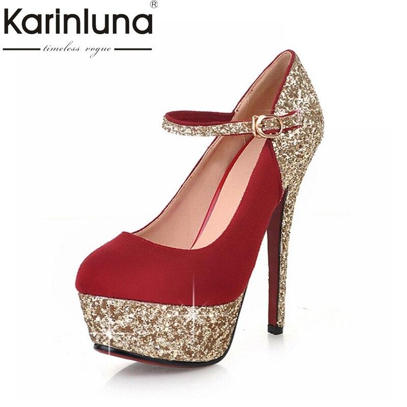 KARINLUNA Big Size 3243 2018 Women Shoes Sexy High Heels Office Lady Dating Party wedding Pumps woman Footwear<br>