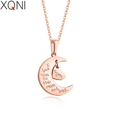XQNI Personality Moon&Heart Love Interlocking Female Stainless Steel Rose Gold English Alphabet Pattern Women Pendant Necklace