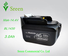 New Rechargeable 14.4V Li-ion 3.0Ah Replacement Battery Packs for Makita Power Tool Battery BL1430 194065-3 194066-1