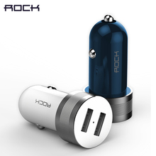 5V 2.4A Dual USB Car-Charger, ROCK Sitor Metal Alloy Fast Car Phone Charger for iPhone/Xiaomi/Samsung/Meizu blue light adapter(China)