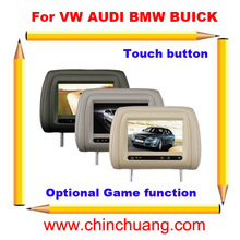 "7"" Special Car Pillow Headrest Monitor for VW AUDI BMW BUICK with Touch Button, optional GAME function-Free shipping"