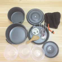 Outdoor Camping Hiking Cookware Tableware Picnic Backpacking Cooking Bowl Pot Pan Cooker Set 2-3 people