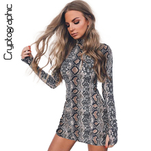 Cryptographic Fashion tunic winter dress snake skin print bodycon autumn dress female 2017 long sleeve dresses for women clothes(China)