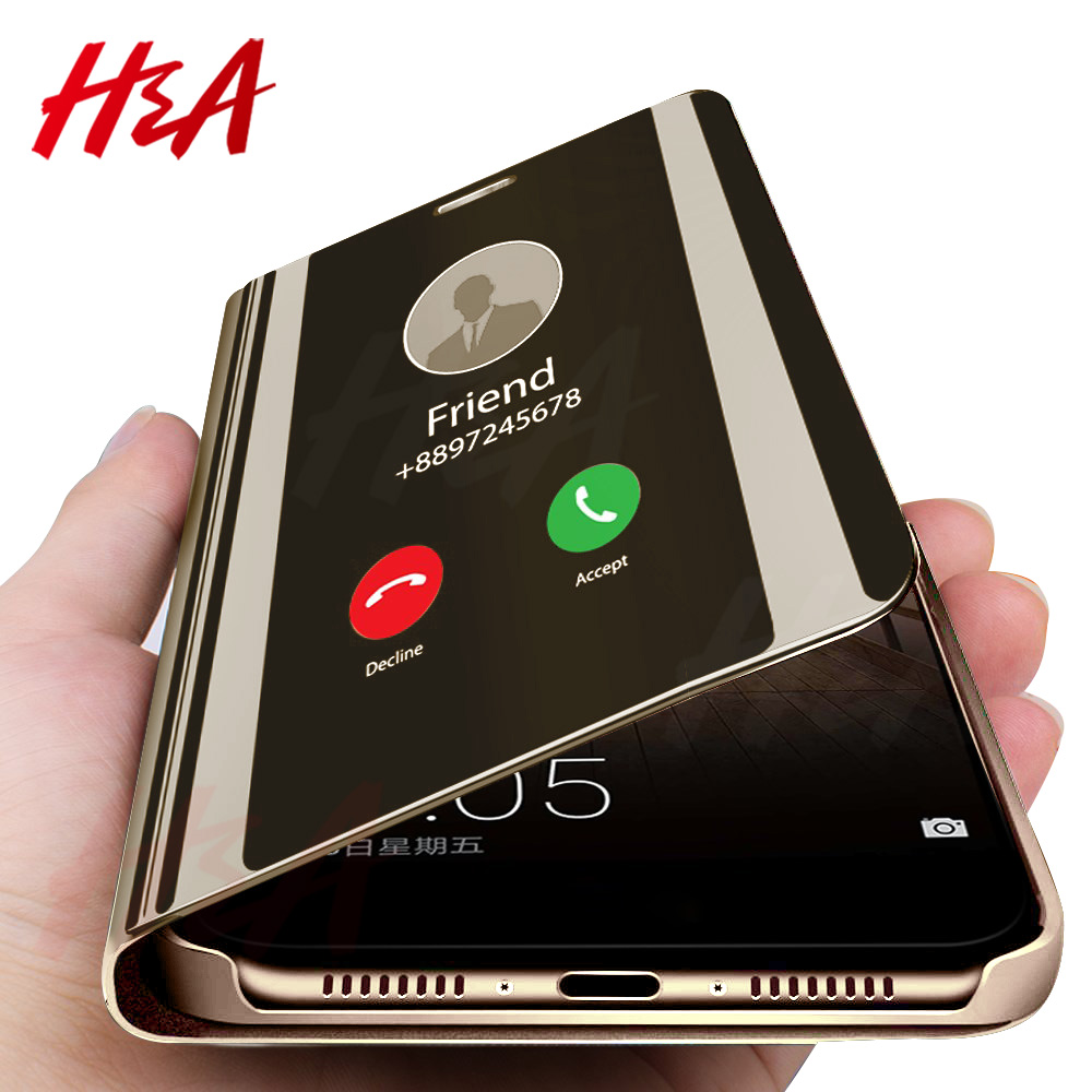 H&A Clear View Smart Mirror Phone Case For Samsung Galaxy S9 S8 S7 S6 Edge Plus Note 8 9 For A3 A5 A7 A8 2017 J3 J7 2018 Case (China)