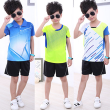 Table Tennis Kids 2018 New Badminton Clothing Suit Quick Drying Summer Tennis Clothes Tennis Boy Girl Sports Shirt(China)