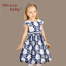 Kids Floral Print Dresses for Girls Princess Girl Party Wedding Clothes Children Clothing Blue Kids Clothes 3-12Y WHOSEBABY W24
