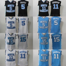 2017 North Carolina #5 #11 #15 College Basketball Authentic Jersey Carter Paige Johnson Size S,M,L,XL,2XL,3XL