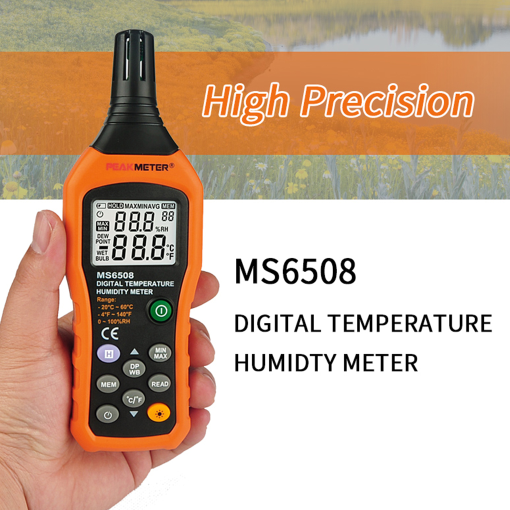 PEAKMETER MS6508 Digital Hygrometer Thermometer Electronic Dew Point Wet Bulb Temperature Humidity Meter<br>