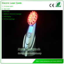 Portable Home Use RF EMS Microcurrent Vibrating Scalp Massager Electric Infrared Laser Comb Hair Growth with LCD Display