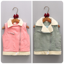 2016 Korean Children's Garment Autumn  Winter New Pattern Girl Baby Zipper Baby Lead  Warm Girl Cotton Vest Waistcoat