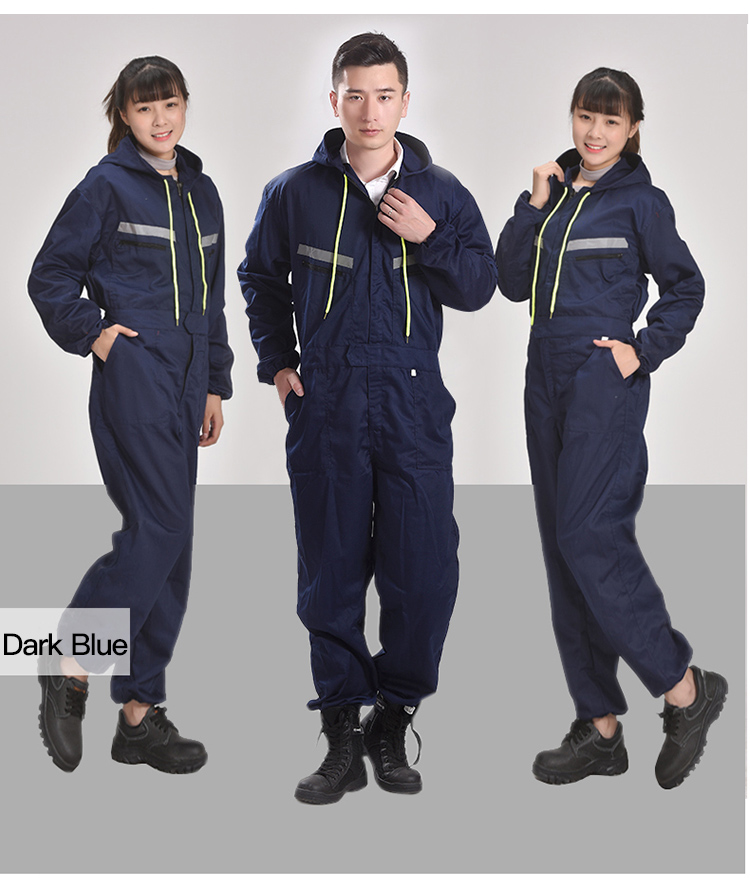 Men Women Coveralls Long Sleeve Hooded Reflective strip Overalls Auto Repair Engineering Spray Paint Workwear Working Uniforms (6)