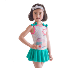 Cute Character Children Girl Swimwear One Piece Suit With Headrope 2017 Summer Beach Kid Swimsuit Bathing Suit Maillot De Bai(China)