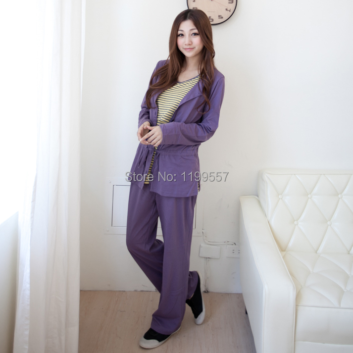 Maternity Clothes 100% Cotton long-sleeve Nursing Sleepwear Breast feeding Clothes Maternity Pajama Lounge Three pieces Suit<br><br>Aliexpress