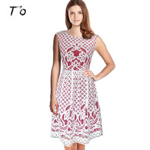 T'O Girl Lady Summer Elegant White VS Red Crochet Hollow out Floral Lace Tunic Casual Party A-Line Swing Vestidos Dress 206
