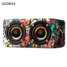 SCOMAS Wooden Bluetooth Speakers Portable Wireless Aux bluetooth 4.0 TF Card FM Radio Loudspeaker Mini Sound Box for Computer PC(China)