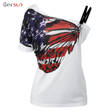 Bersun New Arrival 2017 Harajuku Fashion Print Butterfly T-Shirt Slash Neck T-Shirt Women Tops Plus Size T-Shirt Female T Shirt