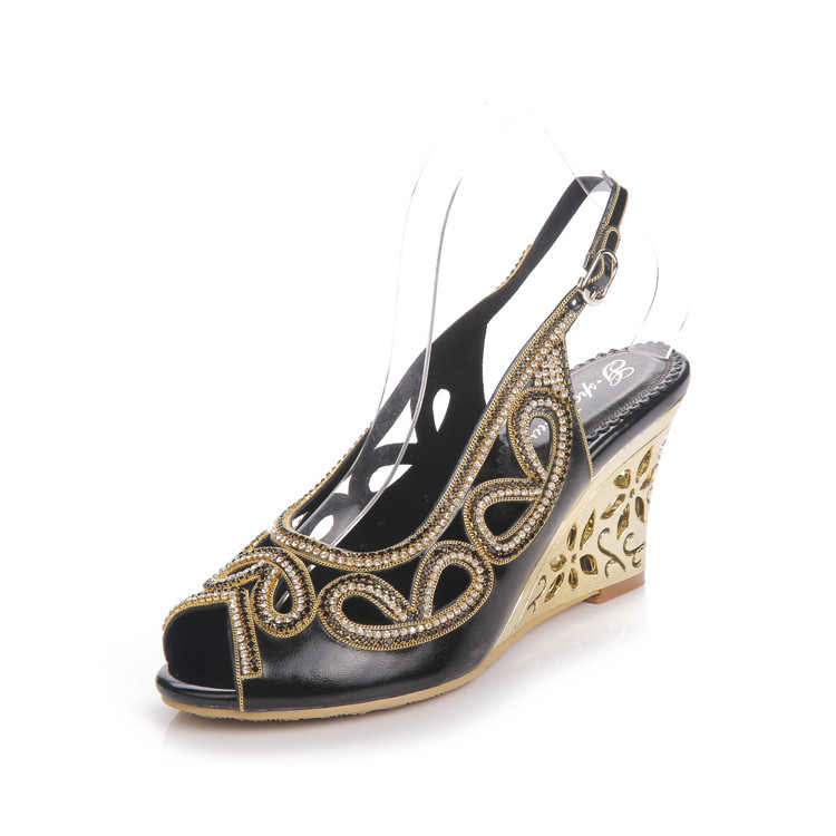 2017 Summer New Diamond Fashion Womens Black Peep Toe Wedges Bridal Sandals Wedding Shoes High Heels Cause Footwear-8