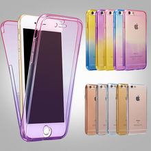 For IPhone 5 5s Se 6 6S 7 Plus Silicone Protective Clear Case Cover 360 Full Protector Shell Touch Screen Candy Color Thin Slim