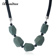 [Bonitus Jewelry Store]2017NewArrival Fashion Statement Necklaces Vintage Style Jumbo Wood Beads & Rope Choker For Women 06N3142(China)
