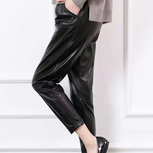 New Style Genuine Women Sheepskin Easy Matched Real Leather Trousers Lady Elastic Waist Shorts Black Sheepskin  Pants