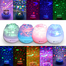 New Fashion Colorful Flash Romantic Rose Projector Night Light Starry Sky Starlight Birthday LED Lamp Bedroom Rotate Projection(China)