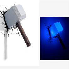 Dreams master Avenger hammer 3D creative LED child wall night lamp for children LED bedroom bedside lamp night light personality