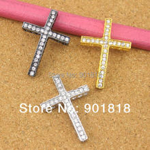 10pcs/bag Wholesale Gold/Rhodium/Gunmetal Rhinestone Sideway Cross Bracelet Charms Pendants for Jewelry Making Accessories F293