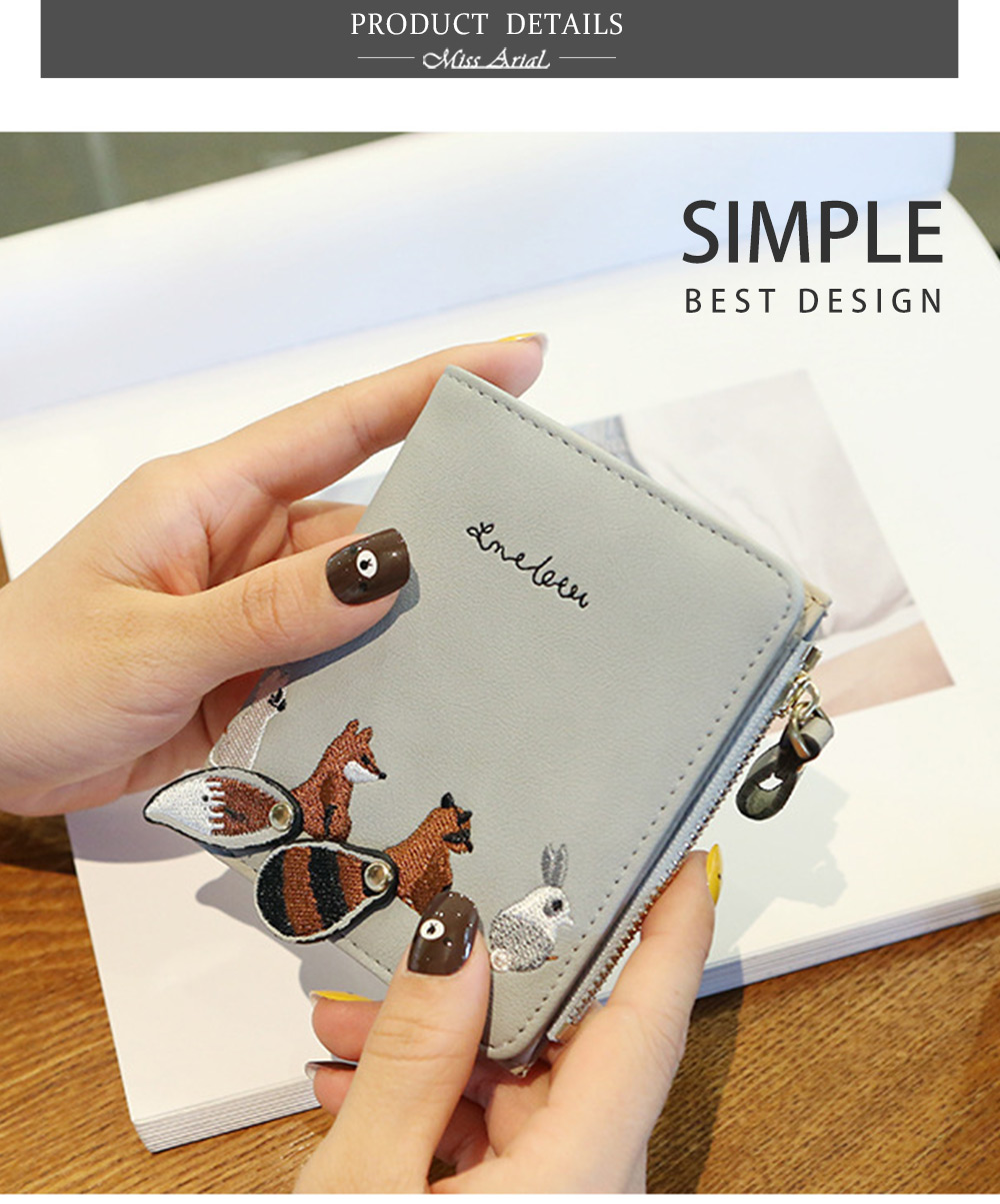 2018 Fashion Naivety Short Wallet Embroidery Fox Wallets Female PU Leather Hasp Coin Purse Zipper Clutch  drop shipping 38