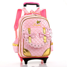 Girls Trolley Backpack Schoolbag Cartoon Orthopedic Bags for Children Trolley School Bag Boys School Backpack Kids Travel Bag(China)