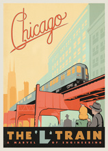Pop America City Chicago Train Travel Poster Classic Retro Vintage Kraft Decorative DIY Wall Sticker Home Bar Posters Decoration