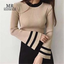 Autumn new sweater 2017 England Style O-Neck Pullovers stripe Patchwork speaker sleeve Slim sweater