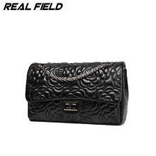 Real Field RF Brand Designer Women Shoulder Bag Valentine Chain Ladies Luxury Flower PU Leather Floral Crossbody Handbag 197