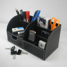 5-slot wood leather multi-function desk stationery organize pen pencil hoider storage case container black 201A