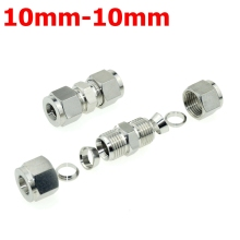 2Pcs 10mm-10mm Double Ferrule Tube Straight Compression Fitting Coupler SS Pipe Connector Stainless Steel 304