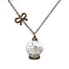 Glass Jewelry Handmade Glass Wish Bottle Imitation Pearl  Dried Flower Pendant Necklace for Women Party Gift