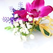 Plum purple Silk Flower orchids sinamay fascinator DIY bridal fascinator hand-made flower Corsage Dress clothes bag wedding