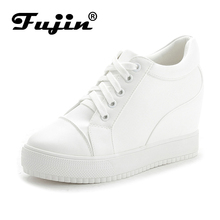 Fujin 2017 Winter Autumn New Women's Genuine Leather Platform Shoes Wedges White Lady casual Shoes Plush pumps shoes size 35-40(China)