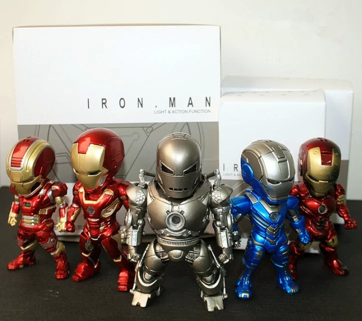 Movie Figure 5PCS/SET Iron Man Light &amp; Action Function Monger Iron Patriot Mark PVC Action Figures Toy Model Collectibles<br>