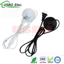 US Black white 2*0.75mm 1.8m 250V PVC Copper AC power 317 button foot switch power cable LED Energy saving light bulb power cord