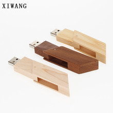 XIWANG 10 units can be customized LOGO rotating wood U disk 4GB 8GB 16GB 32GB 64GB U disk wedding photography usb memory stick(China)