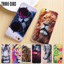 THREE-DIAO TPU Phone Cases for iphone 5 5s SE 6 6s 6 7 plus giant panda tiger Cat lion Wolf Silicone Case For iphone 7