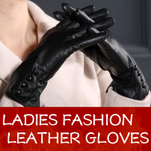 Women Good Quality Comfortable Black Genuine Leather Gloves Lady Long Sheep Leather Gloves For Girls(China)