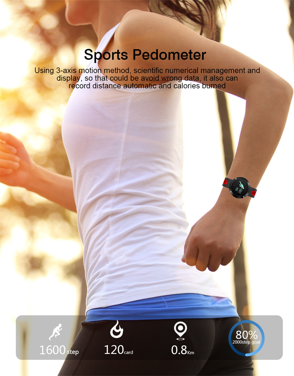Teyo Heart Rate Monitor Smart Band Fitness Bracelet Blood Pressure Sleep Tracker Pedometer Bluetooth Wristband For Android IOS 9