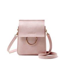 Famous Big Ring Metal Women Faux Leather Shoulder Messenger Cross Body Tote Candy Color Bags Chinas Bags Phone Holders(China)