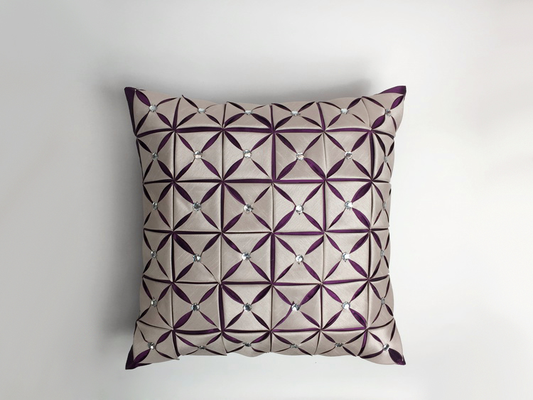 4545cm unique creative stereo purple silver pillow case decorative sofa back cushion cover with