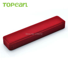 Topearl Jewelry Rectangle Red Velvet Gift Box for Necklace CBOX092