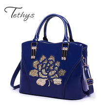 Tethys 2017 New Women Patent Leather Handbag Embroidery Floral Messenger Bags Women Crossbody Bag Female Large Capacity Tote Sac