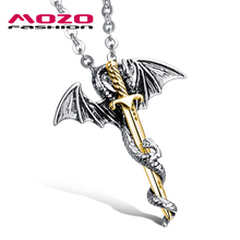 Wholesale New Hot Fashion Fine Jewelry Men Titanium Steel Link Chain Dragon & Sword Pendant Cool Man Necklace Accessories MGX937